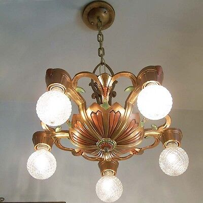 975 Vintage 20s 30s Ceiling Light  aRT Nouveau Polychrome Chandelier antique 10