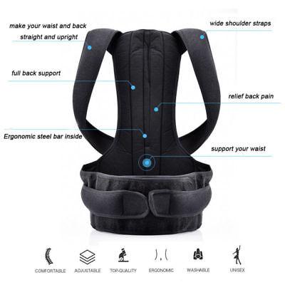 Unisex Posture Corrector Lumbar Lower Back Support Shoulder Brace Pain Magnetic 6