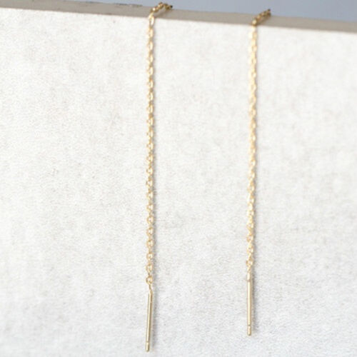 Simple Women Ladies Bar Chain Threader Pull Through Long Earrings Jewelry CB 7