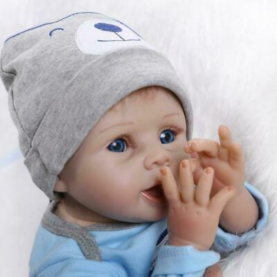 "22"" Newborn Reborn Lifelike Baby Silicone Vinyl Baby Boy Doll Blue Eyes New Gift 5"
