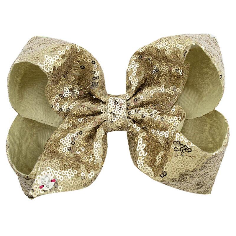 8 Inch Kids Girls Baby Glitter Sequin Cute Bowknot Hair Clips Hair Bows Hairpins 4