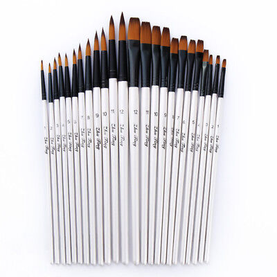 12pcs Artist Paint Brushes Pointed Brush Set Watercolor Painting Acrylic Oil 2