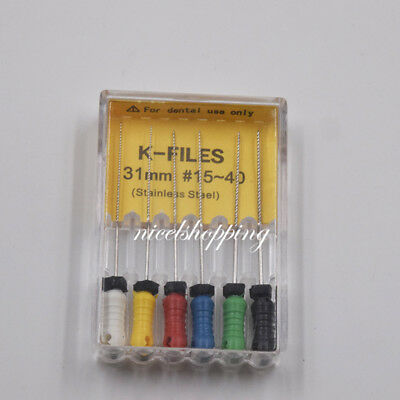 Dental Hand Use Endodontic Stainless Steel K-Files 21/25/31mm All Size 15-80# 6