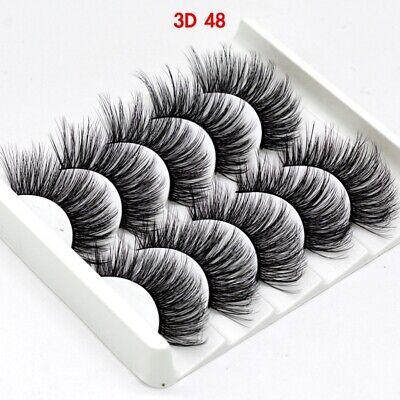 UK 5 Pairs 3D Fake Eyelashes Long Thick Natural False Eye Lashes Set Mink Makeup 6