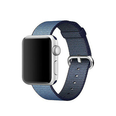 Genuine Apple Watch Woven Nylon Band (38mm, Navy/Tahoe Blue) - New Other!