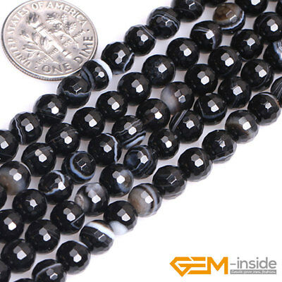 """Natural Faceted Gemstone Black Stripe Agate Round Beads For Jewelry Making 15""""Y 2"""