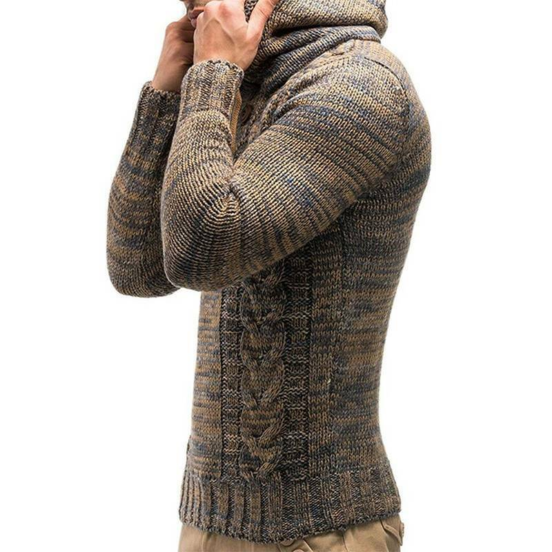 Mens Warm Knitted Hooded Long Sleeve Jumper Pullover Casual Sweater Winter Coat 7