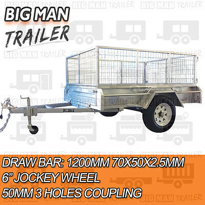 7x4 hot dip galvanised box trailer fully weld removable 600mm cage single tipper 3