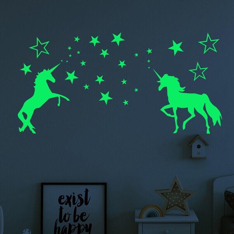 Stickers Licorne & Étoiles brillent dans le noir Décors de chambre d'enfants ^ 4