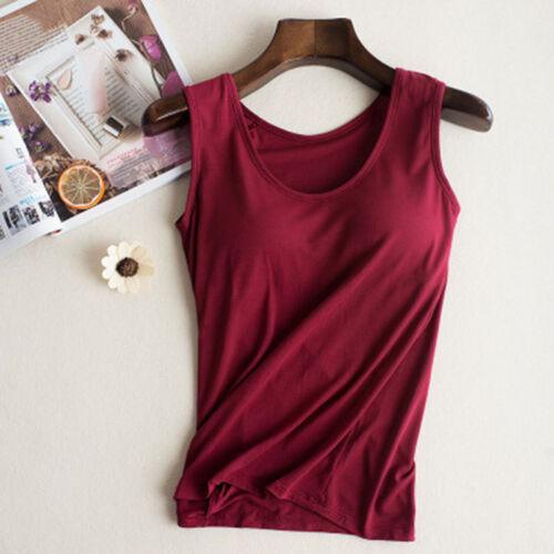 Women Ladies Camisole With Built In Shelf Bra Slim Sleeveless Tank Top Vest UK 7