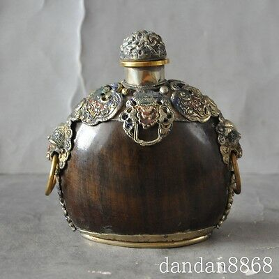 Old Chinese Ox Horn Inlay tibet silver Cloisonne Beast Head snuff bottle 3