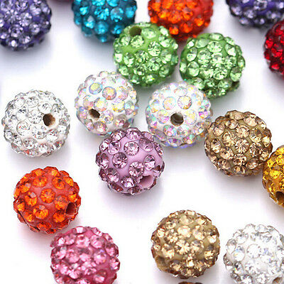 20PCS Czech Crystal Rhinestones Pave Clay Round Disco Ball Spacer Beads 8mm 10mm 4