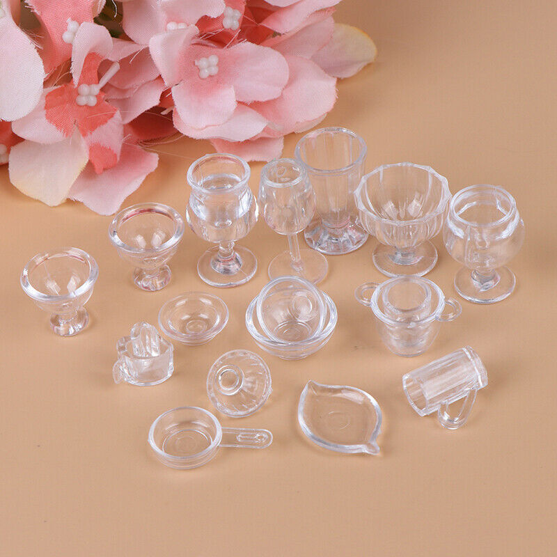 17Pcs/Set 1:12 Dollhouse Miniature Transparent Tableware DIY Pretend Play T IO 2