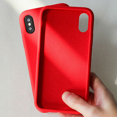 For iPhone 11 Pro Max XS XR 8 7 6s Plus Liquid Silicone Simple Color Case Cover 9
