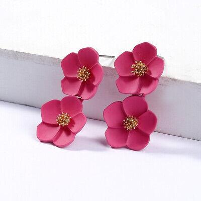 Fashion Crystal Women Flower Drop Dangle Earrings Ear Stud Jewelry Double Layer 11