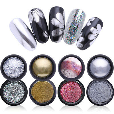 Mirror Effect Shiny Silver Nail Art Powder Chrome Pigment Dust Decor BORN PRETTY 12