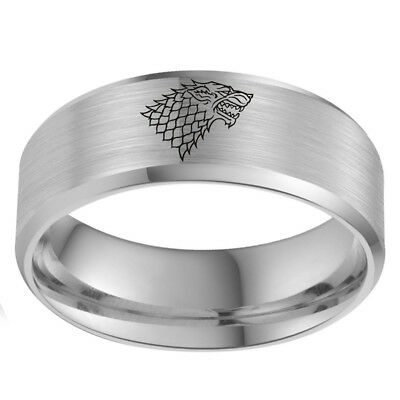 Direwolf House Stark Winterfell Valyrian Steel Band Game of Thrones Ring Sz 6-13 3