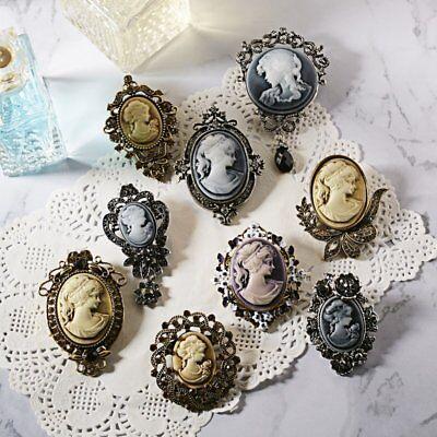 Vintage Cameo Pearl Crystal Rhinestone Brooch Pins Flower Women Wedding Bridal 7