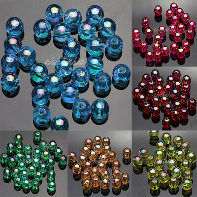 50/100Pcs Acrylic Round Plated AB Loose Spacer Beads Crafts Jewelry Findings DIY 12