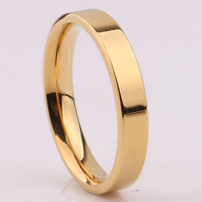 3mm Silver/Gold/Rose Gold/Black Band Women Men's Titanium Steel Engagement Ring 7