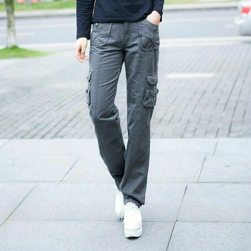 Lady Cargo Trousers Combat Pants Pockets Military Army Slim Straight Leg Classic 7