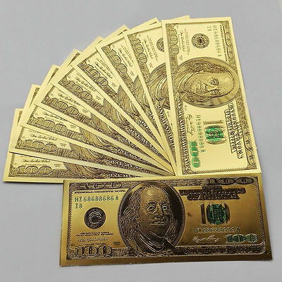 50pcs Old Version USD$100 Foil Golden USD Paper Money Banknotes Crafts KK
