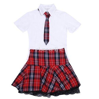 Schulmädchen Uniform Cosplay Fasching Kostüm Minirock mit Bluse und Krawatte Set 7