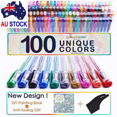 Gel Pen 100 Color Paint Book Glitter Neon Metallic Professional Art Drawing GA 7