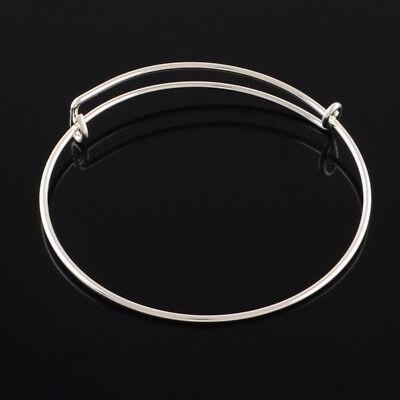 10 x Silver Expandable Wire Bangle Blanks Charm Bracelet Jewellery 70mm diameter 4