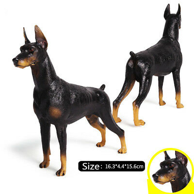 German Doberman Pinscher Dog Pet Animal Figure Model Toy Collector Decor KidGift