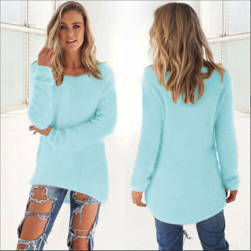 Womens Fluffy Sweatshirt Casual Sweater Long Sleeve Pullover Blouse Jumper Tops 11