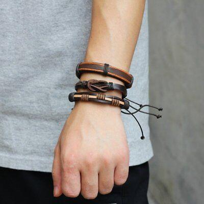 Fashion Mens Punk Leather Wrap Braided Wristband Cuff Punk Bracelet Bangle New 5
