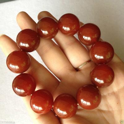 100% pure natural red jade jade bead bracelet 20mm 4
