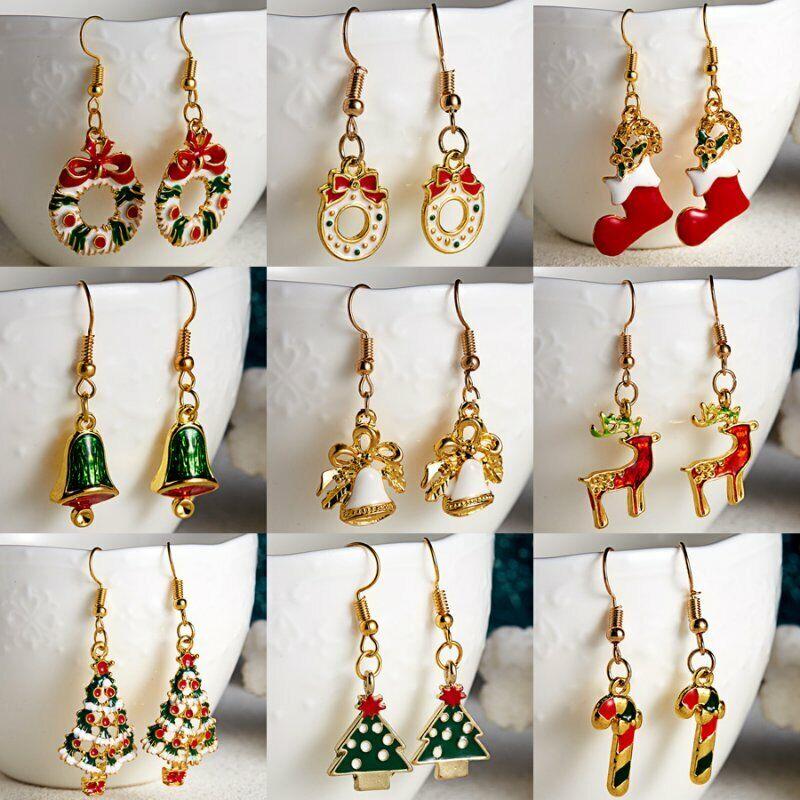 Fashion Women Christmas Earrings Enamel Crystal Drop Dangle Ear Stud Ear Hook 7