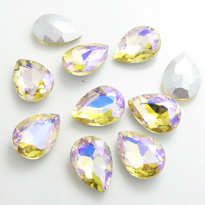 Wholesale Color AB10pcs Crystal Glass rhinestones Teardrop beads 14mm~18mm 2