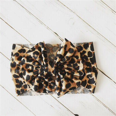 Newborn Baby Girls Leopard Bow Headband Infant Elastic Knot Hair Band Head Wrap 7