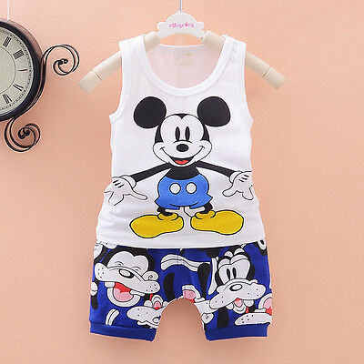 baby boys clothes  summer sleeveless Tee+short pants kids boys outfits cartoon