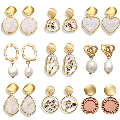 Delicate Bohemia Charm Geometric Shell Pearl Stud Dangle Earrings 2019 Girl Gift 5