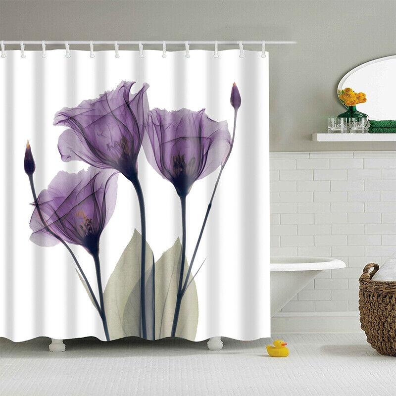 Lila Tulpe Duschvorhang Blumen Druck Wasserdicht Haken Abdeckung Schutz