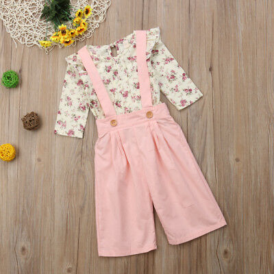 2PCS Toddler Kids Baby Girl Winter Clothes Floral Tops+Pants Overall Outfits AU 10