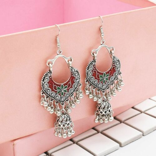 Vintage Sliver Bollywood Jewelry Meenakari Jhumki Jhumka Drop Earrings for Women 6