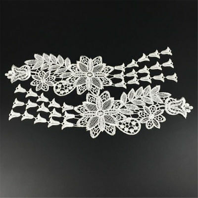 1 Pair DIY Embroidery  Lace Applique Sewing Wedding Dress Trim Craft Flora Patch 12