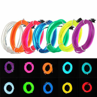 5M Luminescent Neon LED Lights Glow EL Wire Party Strip Rope Battery Operated 4