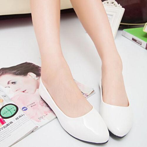 ba0dc4cb536d52 6 von 12 Damen Flache Ballerinas Flats Arbeit Slipper Loafers Halbschuhe Schuhe  Freizeit