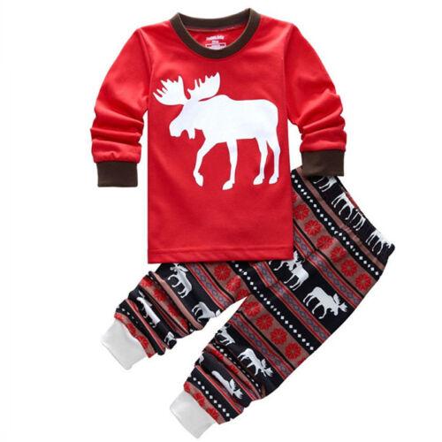 2Pcs Kids Boys Girls Christmas Pajamas Sleepwear Nightwear Xmas PJ's Outfits Set 7