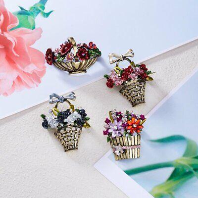 Fashion Rhinestone Crystal Flower Plant Bridal Bouquet Enamel Brooch Pin Jewelry 6