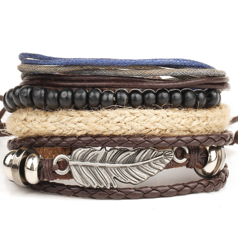 Fashion Punk Women/Men Multilayer Wrap Leather Braided Cuff Bracelet Wristband 2