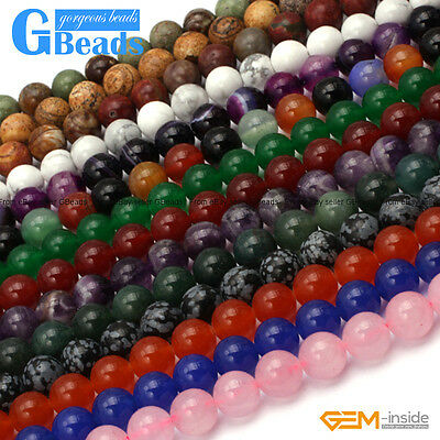 NATURAL 8MM ASSORTED Stones Round Jewelry Making Beads Free Shipping Strand  15
