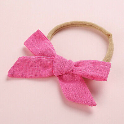 Kids Baby Toddler Cotton Linen Nylon Bow Headband Solid Hairband Hair Ring #N 9