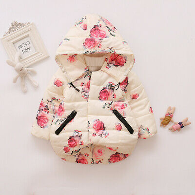 Toddler Baby Girls Floral Hooded Coat Outerwear Kids Jackets Warm Winter Clothes 5
